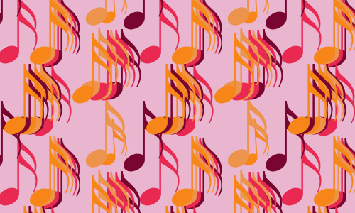Pink notes free musical repeat seamless pattern