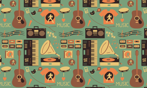 Love free musical repeat seamless pattern