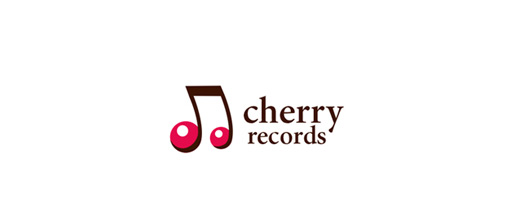 Music note record cherry logo designs