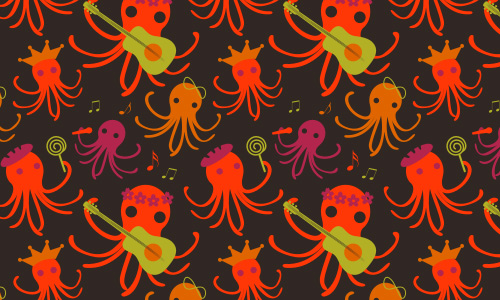 Octopus free musical repeat seamless pattern