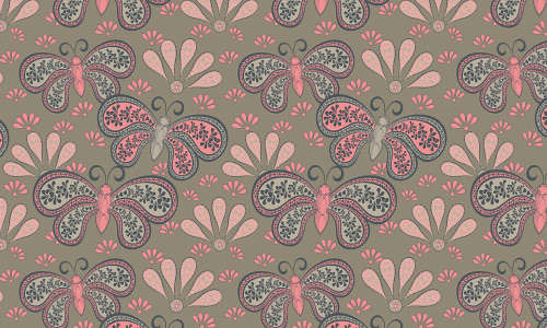 Pink butterfly free animal repeat seamless pattern