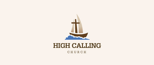Church religion boat logos design