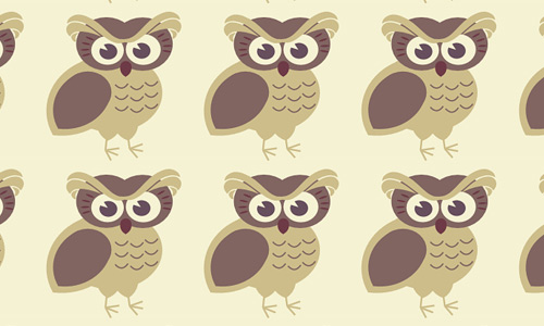 Brown owl free animal repeat seamless pattern