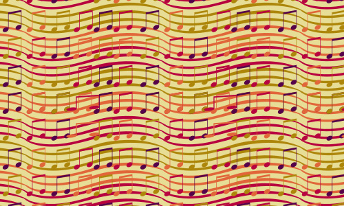 Colorful free musical notes repeat seamless pattern