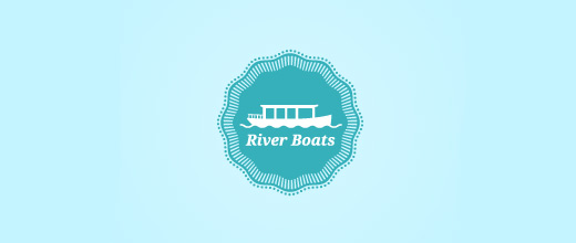 Blue boat logos design