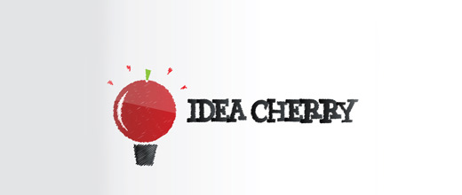 Bulb idea cherry logo designs