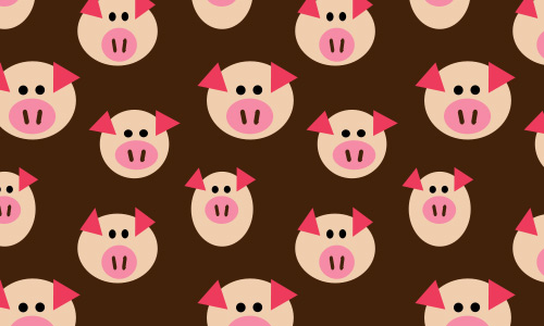 Pig free animal repeat seamless pattern