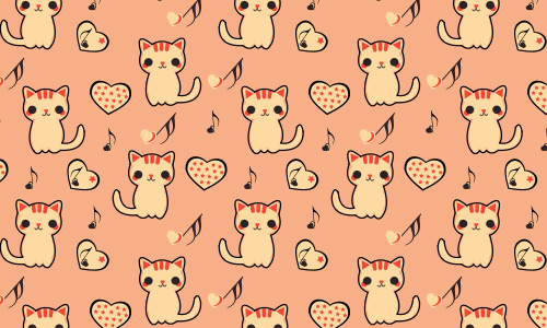 Kitten cat free musical repeat seamless pattern
