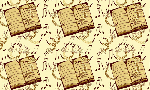 free musical sheet book notes repeat seamless pattern