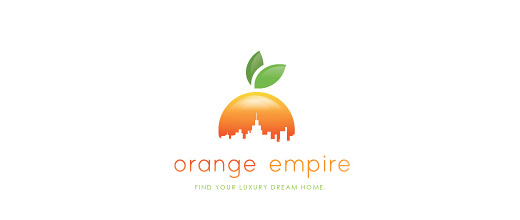 Empire buildings skyscraper orange logo design
