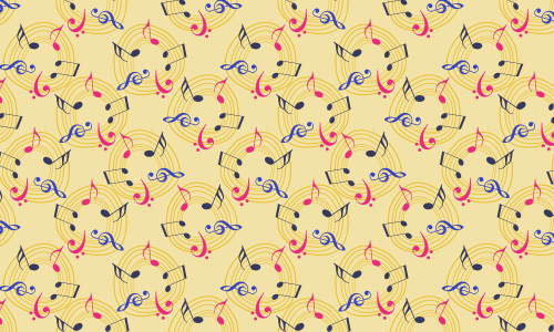 Circle free musical notes repeat seamless pattern