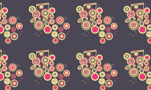 Circle notes free musical repeat seamless pattern