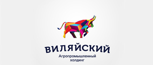 Colorful abstract bull logo designs