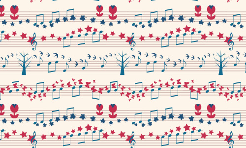Tree sheet free musical repeat seamless pattern