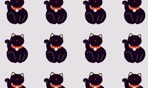 Black cat free animal repeat seamless pattern