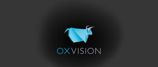 Blue origami bull logo designs