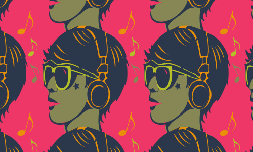 Headphone boy free musical repeat seamless pattern
