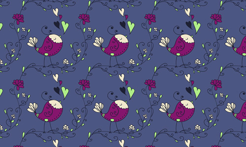 Bird heart free animal repeat seamless pattern