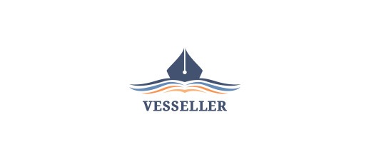 Pen book boat logos design