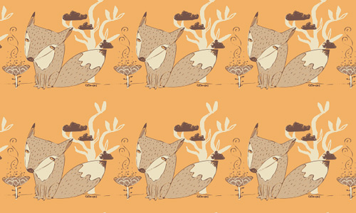 Orange fox free animal repeat seamless pattern