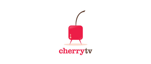Television tv square cherry logo designs