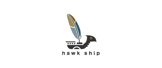 Hawk feather boat logos design