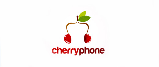 Headphone cherry logo designs