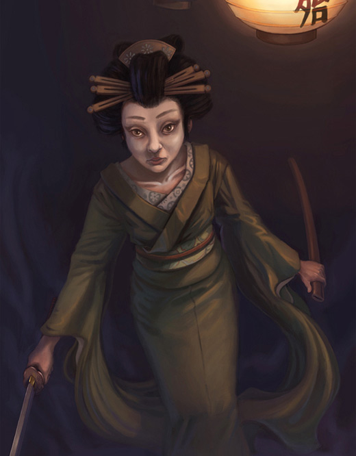 Old geisha artwork illustration
