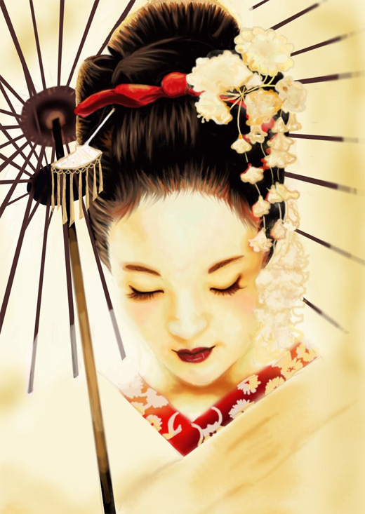 White lovely beautiful geisha artwork illustration