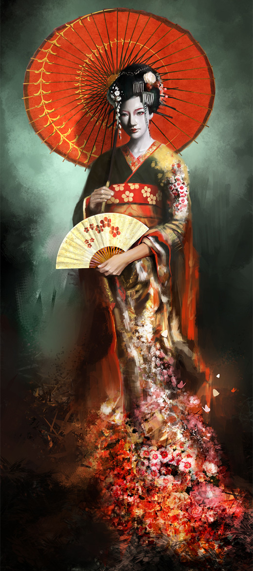 Stunning flower beautiful geisha artwork illustration