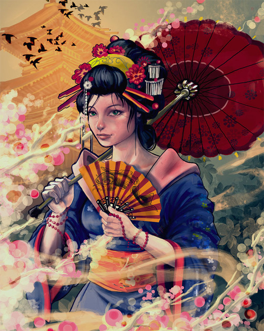 Painting airbrush geisha artwork illustration