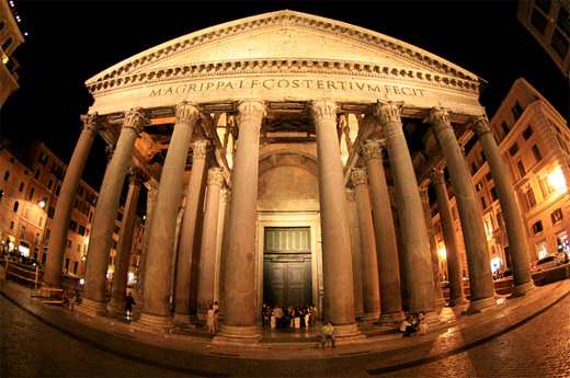 Pantheon building fisheye view fish eye photography