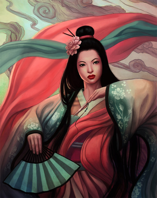 Amazing geisha artwork illustration