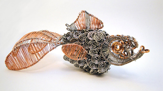 Goldfish wire sculpture