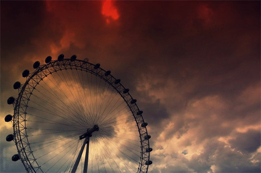 Red sky ferris wheel photography