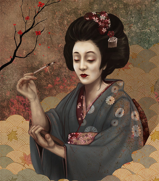 Painting geisha artwork illustration