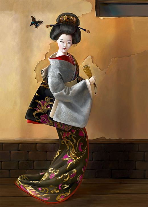 Posing geisha artwork illustration