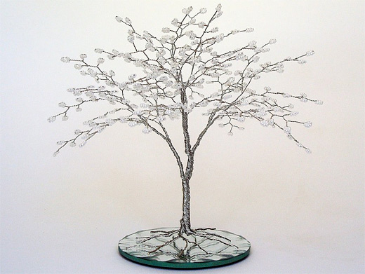 White bonsai wire sculpture