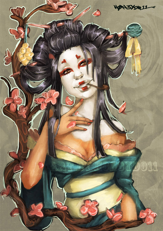 Lovely geisha artwork illustration