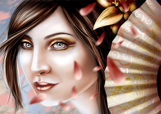 Beautiful face geisha artwork illustration