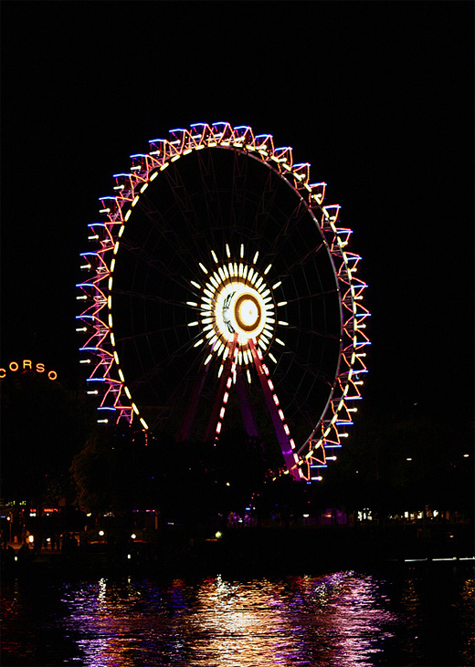 Night light ferris wheel photography