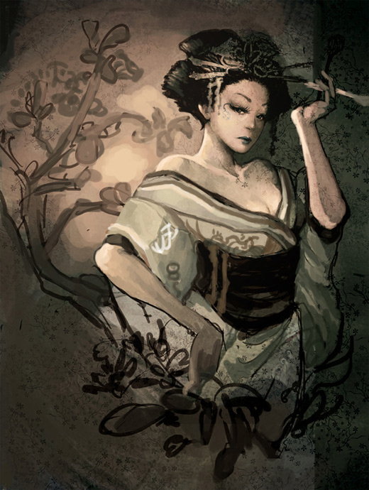 Vintage retro geisha artwork illustration