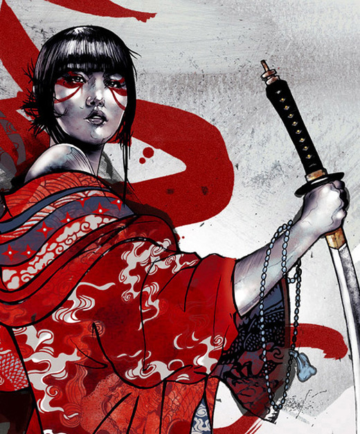 Samurai geisha artwork illustration