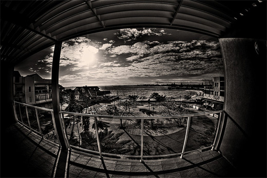 Beach resort fisheye view fish eye photography