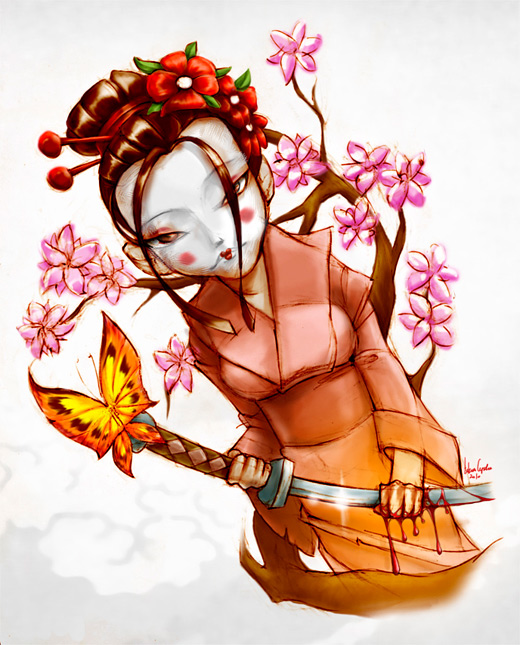 Drawing geisha artwork illustration