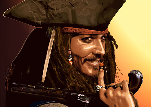 Jack sparrow celebrity vector vexel illustrations