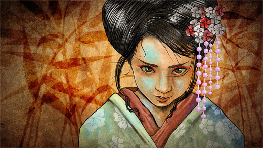 Girl geisha artwork illustration