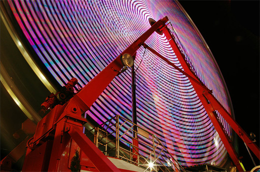 Long exposure ferris wheel photography