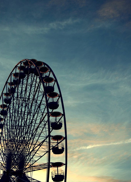 Blue sky ferris wheel photography