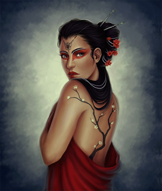 Sexy lovely geisha artwork illustration